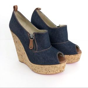 CHRISTIAN LOUBOUTIN Debora Wedge Denim Cork 36